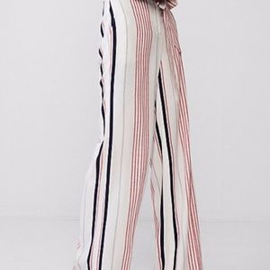 New Express Wide Leg Striped Pants Red White Blue